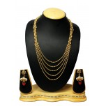 Bollywood Indian Traditional Jewellery Gold Plated Bridal 5 Line Long Necklace Set